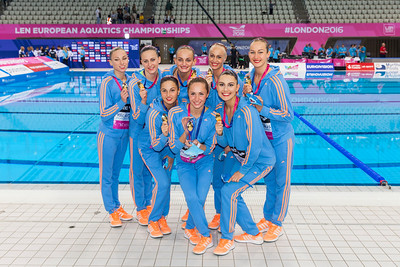 Aquatics Centre, Olympic Park, London, UK. 13th May 2016. The team from Ukraine pose with their gold medals. They win gold with 94.000 points overall, silver goes to Italy with 91.2333 points and bronze to Spain with 89.6667 points  in the Team Free Routine Synchronised Swimming Finals.