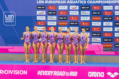 Aquatics Centre, Olympic Park, London, UK. 13th May 2016. The team from Ukraine win gold with 94.000 points overall, silver goes to Italy with 91.2333 points and bronze to Spain with 89.6667 points  in the Team Free Routine Synchronised Swimming Finals.