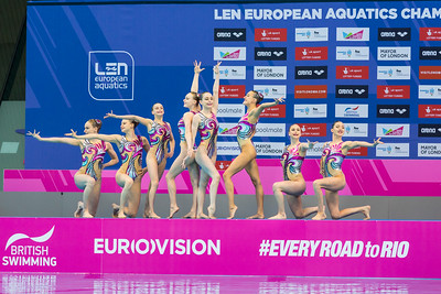 Aquatics Centre, Olympic Park, London, UK. 13th May 2016. The British Synchronised Swimming team present themselves to the judges before starting their routine in the water. The team from Ukraine win gold with 94.000 points overall, silver goes to Italy with 91.2333 points and bronze to Spain with 89.6667 points  in the Team Free Routine Synchronised Swimming Finals.