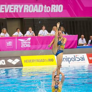 France's women perform their routine. LEN Euroean Championships, London - Synch Team Finals.