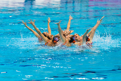 Aquatics Centre, Olympic Park, London, UK. 13th May 2016. The Spanish team perform a difficult routine, with many supporters in the audience. The team from Ukraine win gold with 94.000 points overall, silver goes to Italy with 91.2333 points and bronze to Spain with 89.6667 points  in the Team Free Routine Synchronised Swimming Finals.