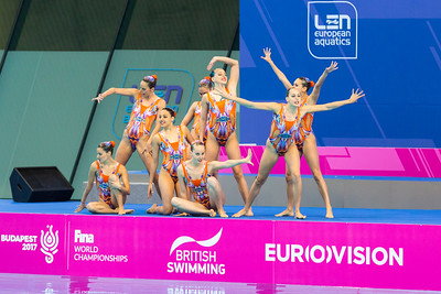 The Spanish team perform a difficult routine.LEN Euroean Championships, London - Synch Team Finals.