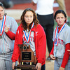 Webb City teammates hold the second place trophy following the MSHSAA State Championship game Saturday afternoon, Oct. 26, 2013, in Springfield.<br /> Globe | T. Rob Brown