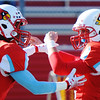 Webb City's Kolesen Crane (right) congratulates teammate Kiante Hardin for scoring a touchdown against Cape Girardeau during the Semi-Final Saturday afternoon, Nov. 23, 2013, at Webb City.<br /> Globe | T. Rob Brown