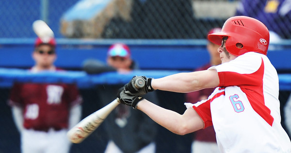 Globe/T. Rob Brown<br /> Webb City's Cade Crouch bats against Nevada Monday afternoon, April 1, 2013, during the 39th Annual Bill O'Dell Tournament at Carthage's Carl Lewton Stadium.