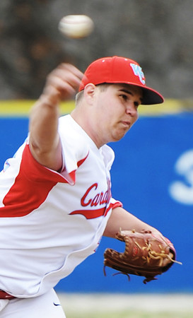 Globe/T. Rob Brown<br /> Webb City's Evan Slaughter pitches against Nevada Monday afternoon, April 1, 2013, during the 39th Annual Bill O'Dell Tournament at Carthage's Carl Lewton Stadium.