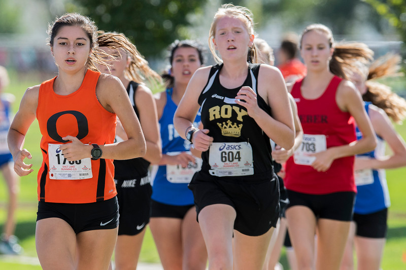 Weber City and County track puts on the Girl's Varsity 5K at the Weber County Fairgrounds in Ogden on Wednesday September 13, 2017.