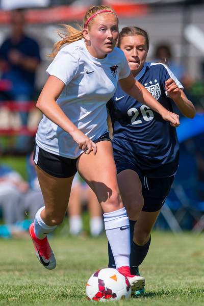 Shalie Cevering (23) stays ahead of the Bonneville defender Chandler Manning (26) and maintains possession  on Tuesday August 15, 2017 in Pleasant View.