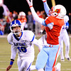 Webb City receiver Kiante Hardin reaches for the ball during a touchdown run as Carthage's Alex Derryberry plays defense Wednesday night, Nov. 6, 2013, at Webb City's field.<br /> Globe | T. Rob Brown