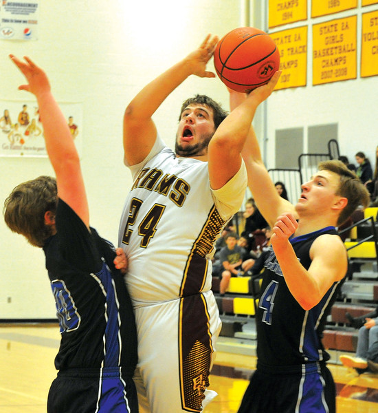 Ryan Patterson | The Sheridan Press<br /> Big Horn's Jaxon Parker attempts a shot against Southeast in the North-South Challenge at Big Horn High School Saturday, Jan. 6, 2018. The Rams won 61-59 in double overtime.