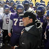 John Cross<br /> Minnesota State University football coach Aaron Keen addresses squad members prior to their first spring practice session on Monday.