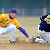 Minnesota State's Lucas Skjefte tags out Augustana's 28 during an attempted steal during the third inning Saturday.
