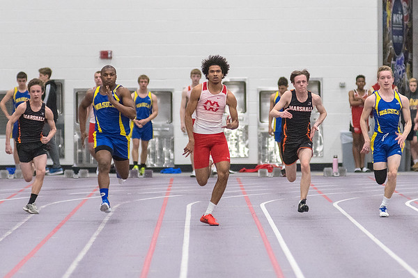 Dom Sealy (center) of Mankato West gets a good start in the 60 meter dash during Tuesday's track meet held at Myers Field House on the Minnesota State campus. Photo by Jackson Forderer