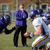 Mavericks head football coach Todd Hoffner watches drills during a Friday afternoon practice at Mankato State University. Photo by John Cross