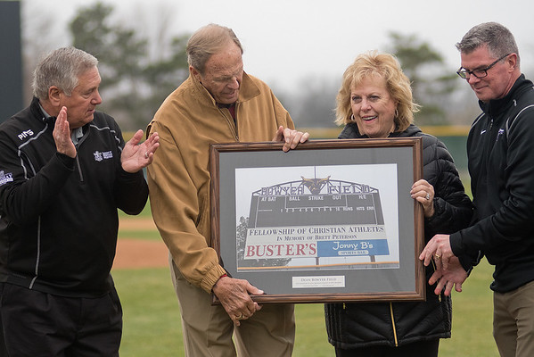 From left, former Minnesota State baseball coach Dean Bowyer, ?, ?, MSU Athletic Director Kevin Buisman, Photo by Jackson Forderer