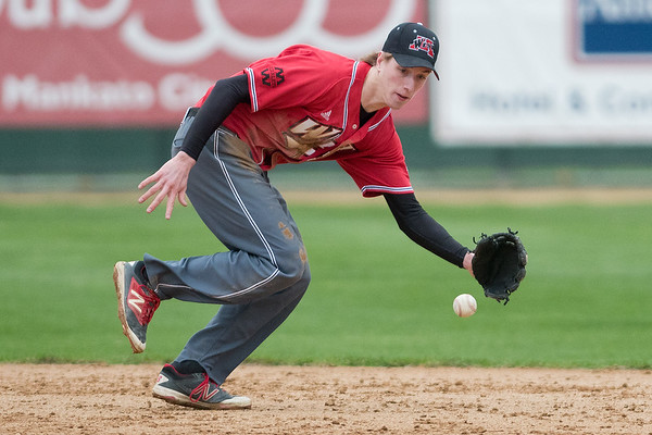 Mankato West's shortstop Kyle Looft runs after a ground ball that went just beyond his glove in Thursday's conference game against Albert Lea. Photo by Jackson Forderer