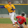Minnesota State's Luke Waldek makes a force out at second base and throws the ball to first base during the first game of MSU's double-header played against St. Cloud on Thursday. Photo by Jackson Forderer