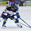 C.J. Franklin fights for control of the puck in a game against Alaska last season. Photo by Jackson Forderer