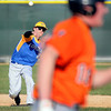 Mankato Loyola shortstop Will Cipos throws out Sleepy Eye baserunner Sam Hirschboeck during the fifth inning Friday at Franklin Rogers Park. Photo by Pat Christman