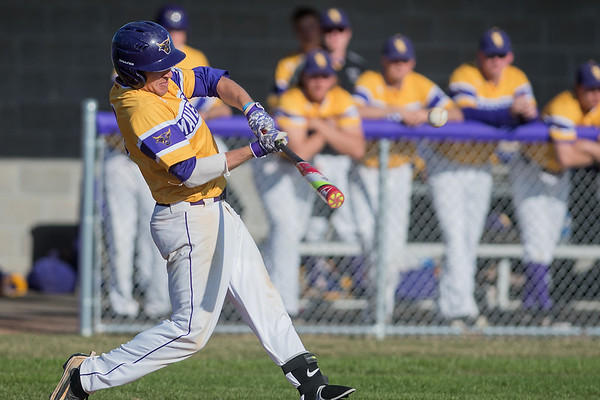 Minnesota State's Josh Wenzel hits a home run against Augustana in the sixth inning of the second game of a doubleheader played on Saturday. Wenzel's solo home run accounted for half of MSU's runs in their 4-2 loss. Photo by Jackson Forderer