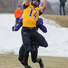 Minnesota State's Parker Gloudemans makes a leaping catch during Saturday's spring football game for MSU. Gloudemans made the catch but the play was called back for offensive pass interference. Photo by Jackson Forderer