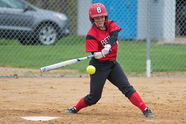 Christina Wickingson of Bethany Lutheran takes a swing at a pitch in a game against Crown College on Thursday. Photo by Jackson Forderer