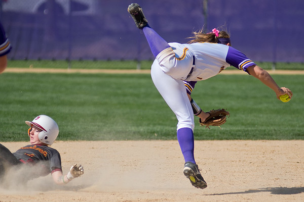 Minnesota State's Ashley Thell (right) decides to hang onto the ball instead of throwing to first base for a double play after making a force out at second on Northern State's Katie Uittenbogaard. Photo by Jackson Forderer