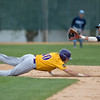 Minnesota State's Ryan Moffett slides safely back to second base as Upper Iowa's Luis Ravelo-Herrera waits for the ball to apply a tag in the second game of a double-header played on Friday. The Mavericks won both games by scores of 17-7 and 6-4. Photo by Jackson Forderer