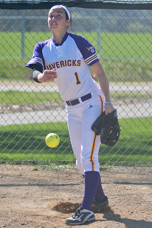 Minnesota State's Coley Ries throws a pitch in the bullpen while the Mavericks faced Northern State University in the second game of a double-header. Ries pitched a perfect game for her 100th win in the first game against NSU. Photo by Jackson Forderer