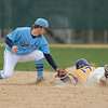 Jake Dale (left) of Upper Iowa puts a tag on Minnesota State's Luke Waldek as he tried to extend a single into a double. Waldek was called out on the play. MSU however swept Upper Iowa in four games. Photo by Jackson Forderer