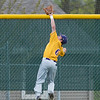Josh Wenzel of Minnesota State makes a leaping catch in centerfield in the second game of a double-header played against Upper Iowa on Friday. Photo by Jackson Forderer