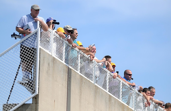 Pat Christman <br /> Fans watch practice from atop the stands of Blakeslee Stadium Thursday.