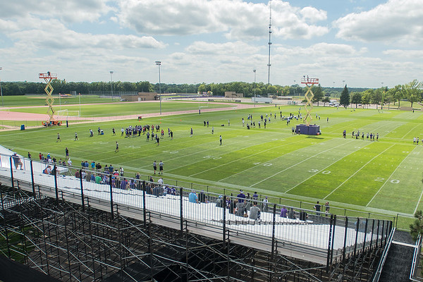 The Minnesota Vikings hold their first afternoon practice of training camp on the football field at Minnesota State University in Mankato, Minn. on Monday. This will be the last year the training camp will be held in Mankato, where it began in 1965. Photo by Jackson Forderer