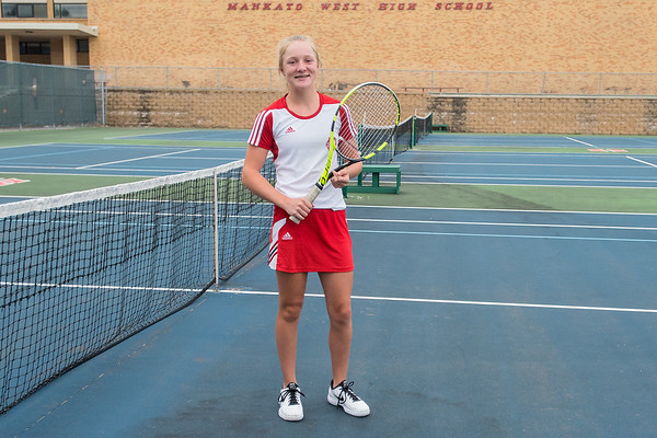 """Anna Egeland, 15, Mankato West's number one singles player said of her expectations this season, """"I really want to improve this season and work on my strokes and overall technique against better players."""" Photo by Jackson Forderer"""