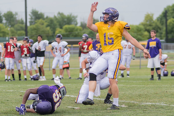 Minnesota State's Casey Bednarski watches his field goal go through the uprights during practice on Thursday. Bednarski holds the NSIC record for longest field goal made. Photo by Jackson Forderer