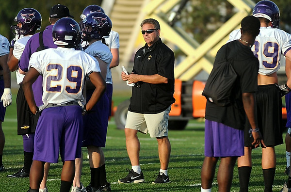 Minnesota State head football coach Todd Hoffner runs practice Thursday. Photo by Pat Christman