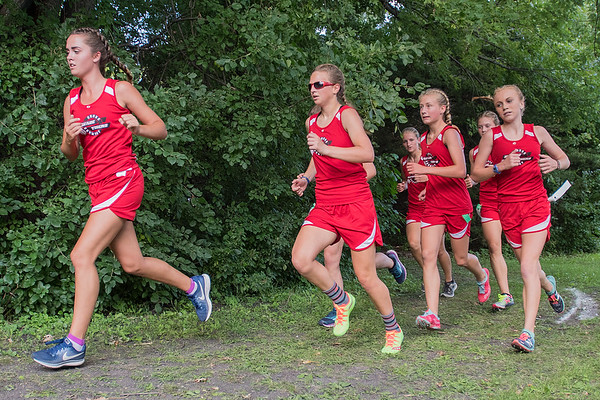 The Belle Plaine girls cross country team finished the Mankato East Invitation took first through fifth places, to finish with a perfect score of 15. Photo by Jackson Forderer