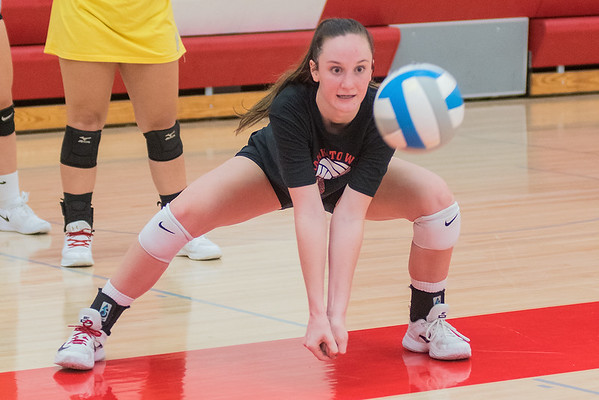 Mankato West's Kennedy Geller gets ready to pass the ball to a teammate during a digging drill at practice on Friday. Photo by Jackson Forderer
