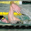 Mankato East/Loyola's Eaden Javens competes in the 500-yard freestyle swim during a meet Tuesday at the East pool. Photo by Pat Christman