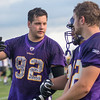 Minnesota State senior defensive end Evan Perrizo (92) goes over defensive schemes with his teammates during Thursday's practice. Photo by Jackson Forderer