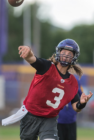 Minnesota State quarterback Ryan Schlichte throws a ball to a receiver during Thursday's practice. Photo by Jackson Forderer