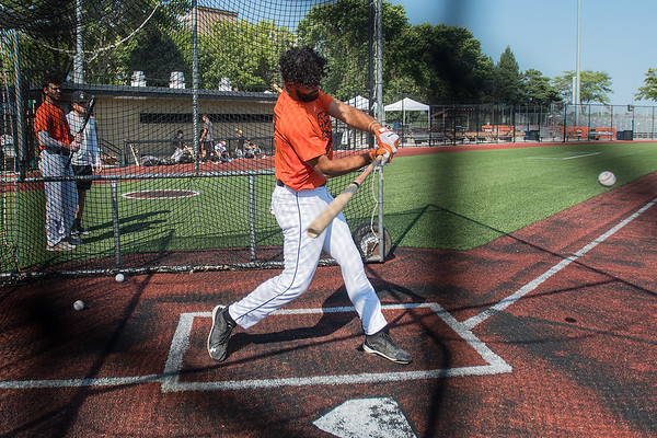 Zach Hardy of the Mankato MoonDogs takes batting practice during practice on Wednesday at Franklin Rogers Park. Hardy will be a senior pitcher at New Mexico State next year. Photo by Jackson Forderer