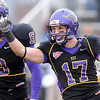 Minnesota State's Justin Otto (17) celebrates an interception against Missouri Western Saturday at Blakeslee Stadium.<br /> <br /> Pat Christman