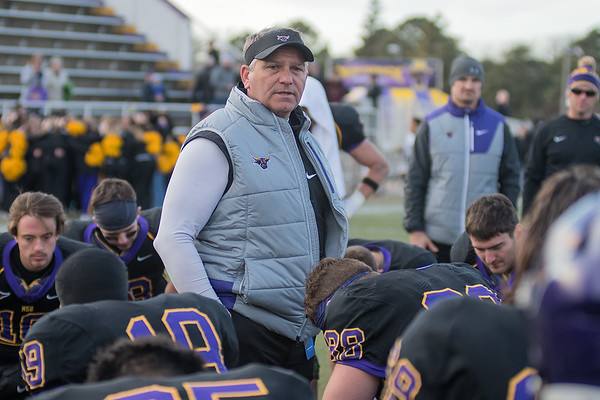 Minnesota State head football coach gives the last post-game speech of the season to the team after losing to Texas A&M Commerce 31-21. Photo by Jackson Forderer