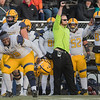 Texas A&M Commerce's Poet Thomas (79) begins to celebrate as it became clear that the Lions would pull off the victory over Minnesota State. Photo by Jackson Forderer