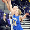 Minnesota State's Karlee Gengenbacher (24) races Dakota State's Courtney Hamblin (22) to a rebound during the first half Wednesday at Bresnan Arena.