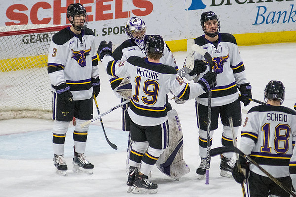 Minnesota State goalie Connor LaCouvee is congratulated by his teammates after tending a shutout against Alabama Huntsville on Saturday. LaCouvee has had two consecutive shutouts and the team has only given up two goals in the last four games. Photo by Jackson Forderer