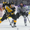 Minnesota State's Zeb Knutson (right) defends against Michigan Tech's Mark Auk in a game played on Oct. 27, 2017. Photo by Jackson Forderer