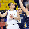 Pat Christman<br /> Minnesota State's Assem Marei looks to pass out of a double team during the first half Saturday.