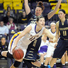 Pat Christman<br /> Minnesota State's Ali Wilkinson moves around Concordia-St. Paul's Jodi Batzel during the second half Saturday at Bresnan Arena.
